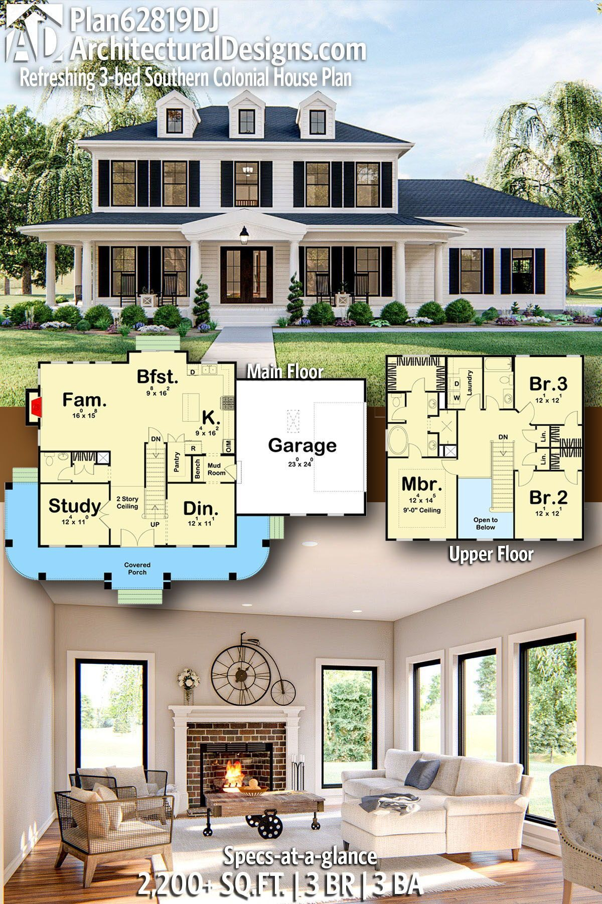 Plan 62819dj Refreshing 3 Bed Southern Colonial House Plan Colonial House Plans Colonial House House Plans