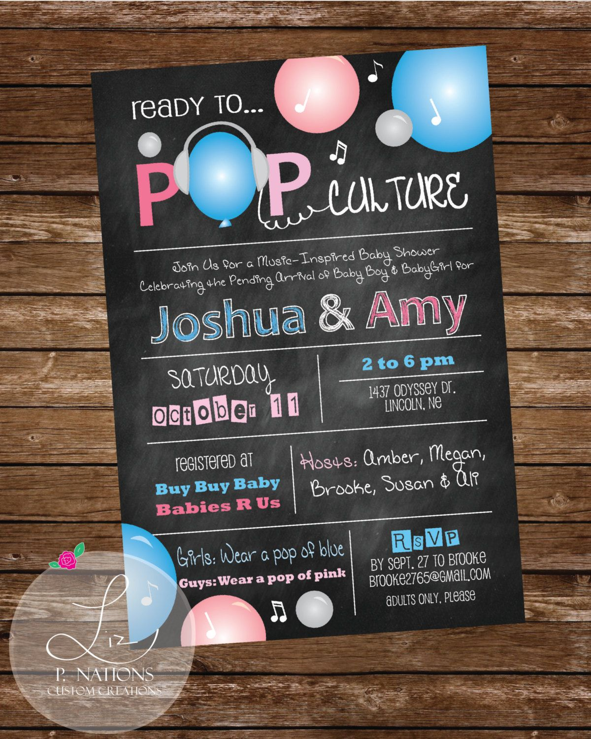 Shower invitations Ready to Pop Culture