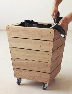 How to make slatted tapered wooden planter with wheels for Tapered planter box plans