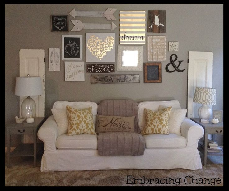 Living room decor rustic farmhouse style rustic taller for Picture wall ideas for living room