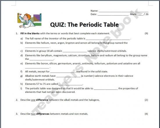 the periodic table quiz - Periodic Table Of Elements Quiz 1 18