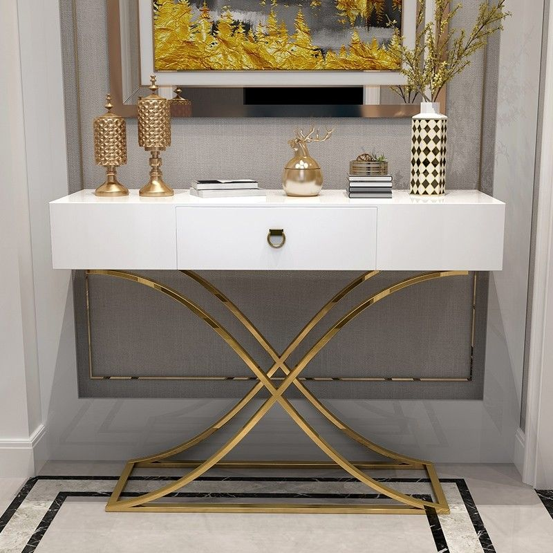 White Black Console Table With Drawer Entryway Table Contemporary For Hallway X Gold Base In 2020 Entrance Table Decor Console Table Decorating White Console Table