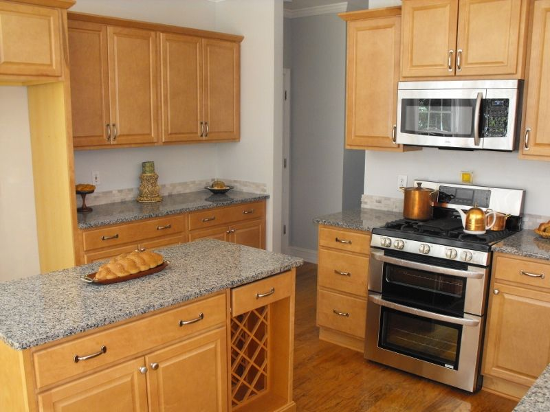 Kitchen Maple Granite Countertops Needs Dark Grey Tile Floors And