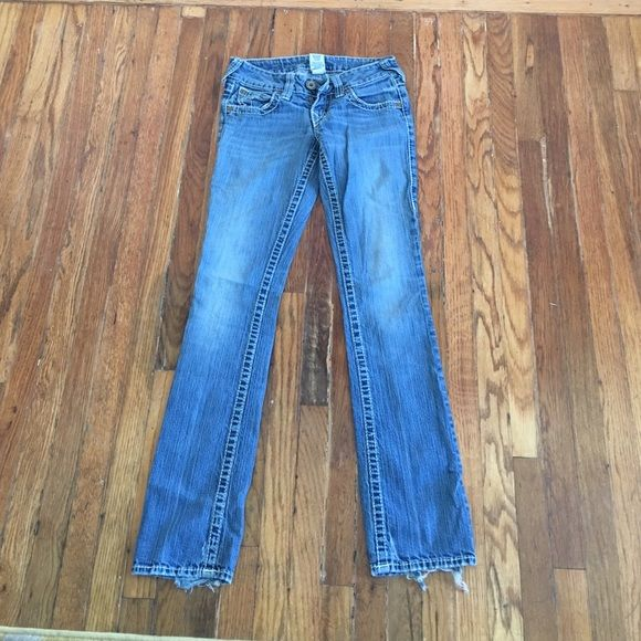 Used True Religion Jeans Worn True Religion Jeans, light blue wash with white stitching, has a couple rips at the bottom of the jeans(look at pictures)  super comfortable to run errands in straight leg True Religion Jeans Straight Leg