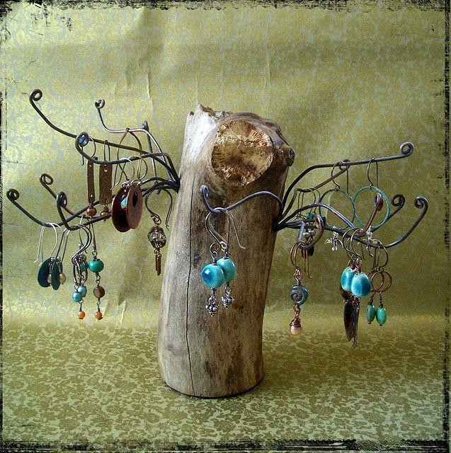 Driftwood earring stand markt ideen - Schmuckhalter basteln ...