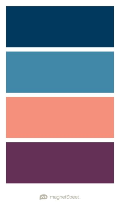 Navy, Monaco, Coral, and Eggplant Wedding Color Palette - custom