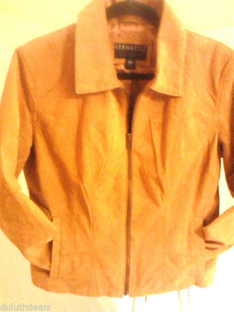 Bernado Brown Leather Suede Jacket, Large, Croco Embossed details #Bernado #BasicJacket