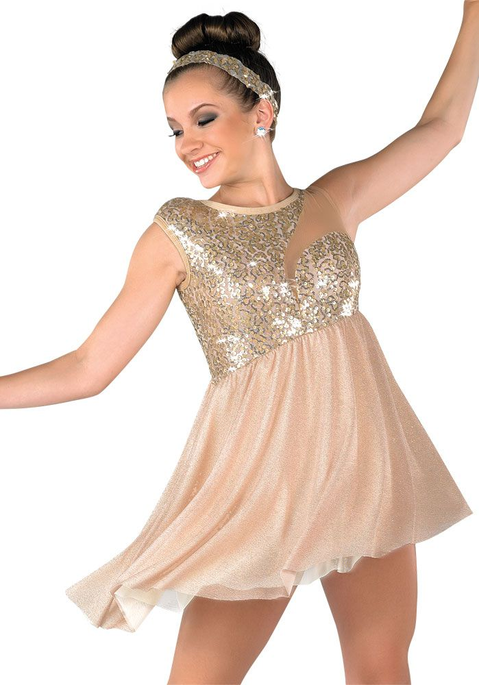 Lyric solo lyrical dance costumes : Tannish goldish sparkle costume with headpiece(be your river ...