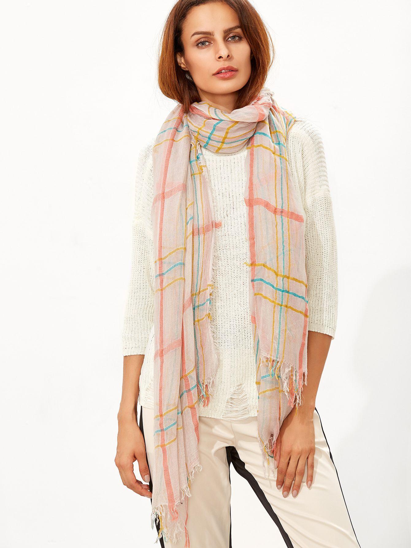 Shop Multicolor Plaid Raw Edge Scarf online. SheIn offers Multicolor Plaid Raw…
