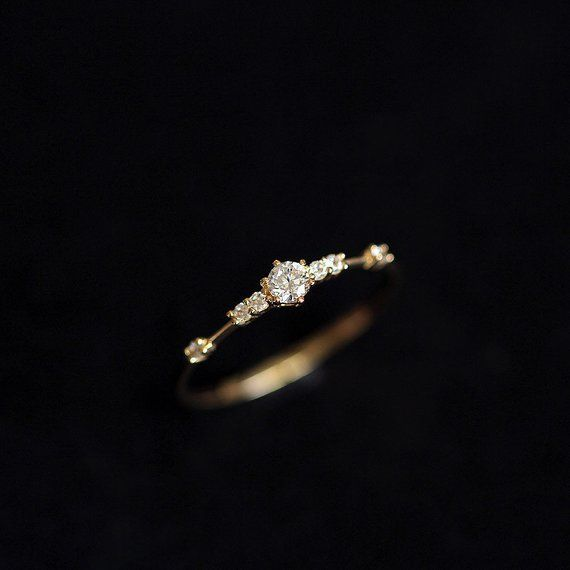 Photo of 14k Gold Ring Thin Crystal Stacking Ring Dainty Minimalist Solitaire Ring Band Chic Proposal Birthday Wedding Bride Bridesmaid BFF Love
