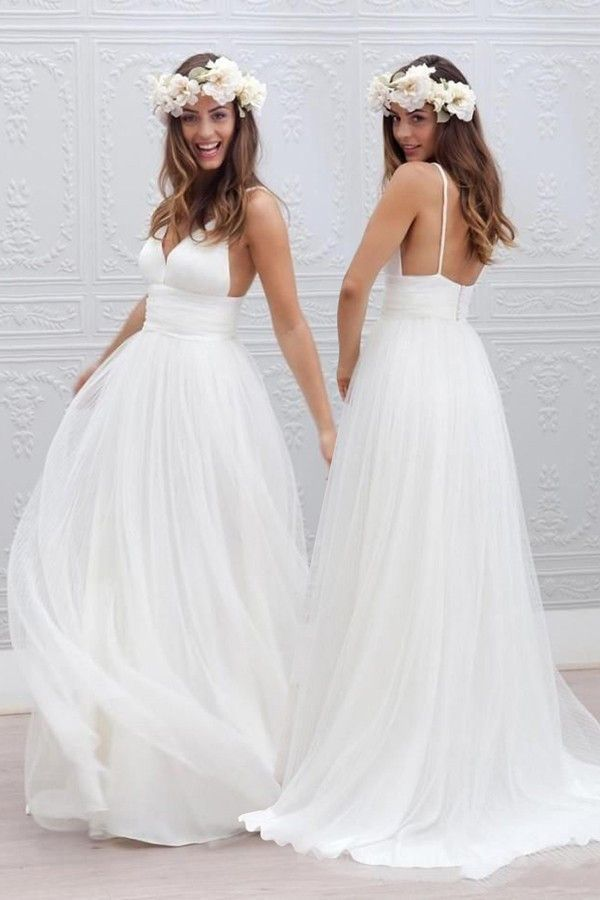Simple V-neck Floor-Length Wedding Dress With Ruched Sash WD054 ...
