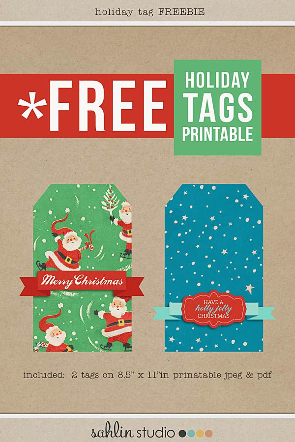 FREE Printable Christmas Holiday Tags by Sahlin Studio - Perfect for your December Daily Album