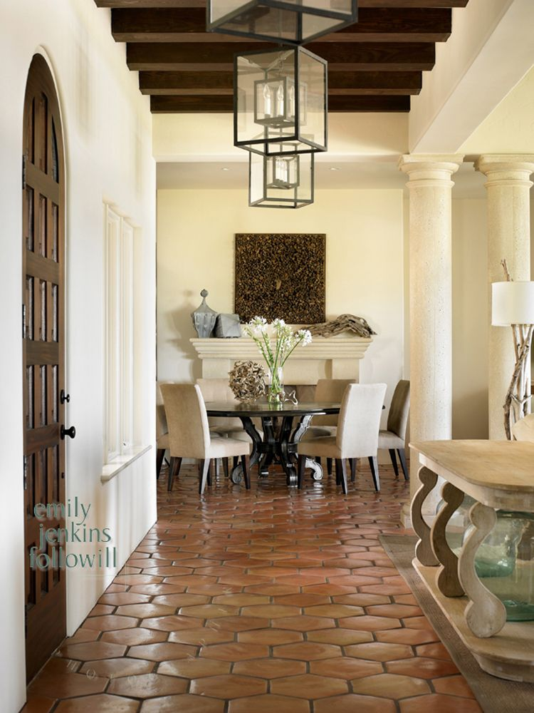 dining room with terracotta tile floor dark wood ceiling beams - Terra Cotta Tile Home Decoration