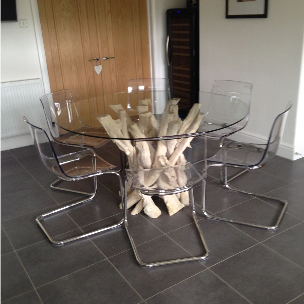This Bleached Driftwood Dining Table Base Measures 900mm