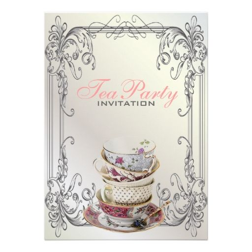 Formal elegant swirls White vintage tea party Invitations Tea Time
