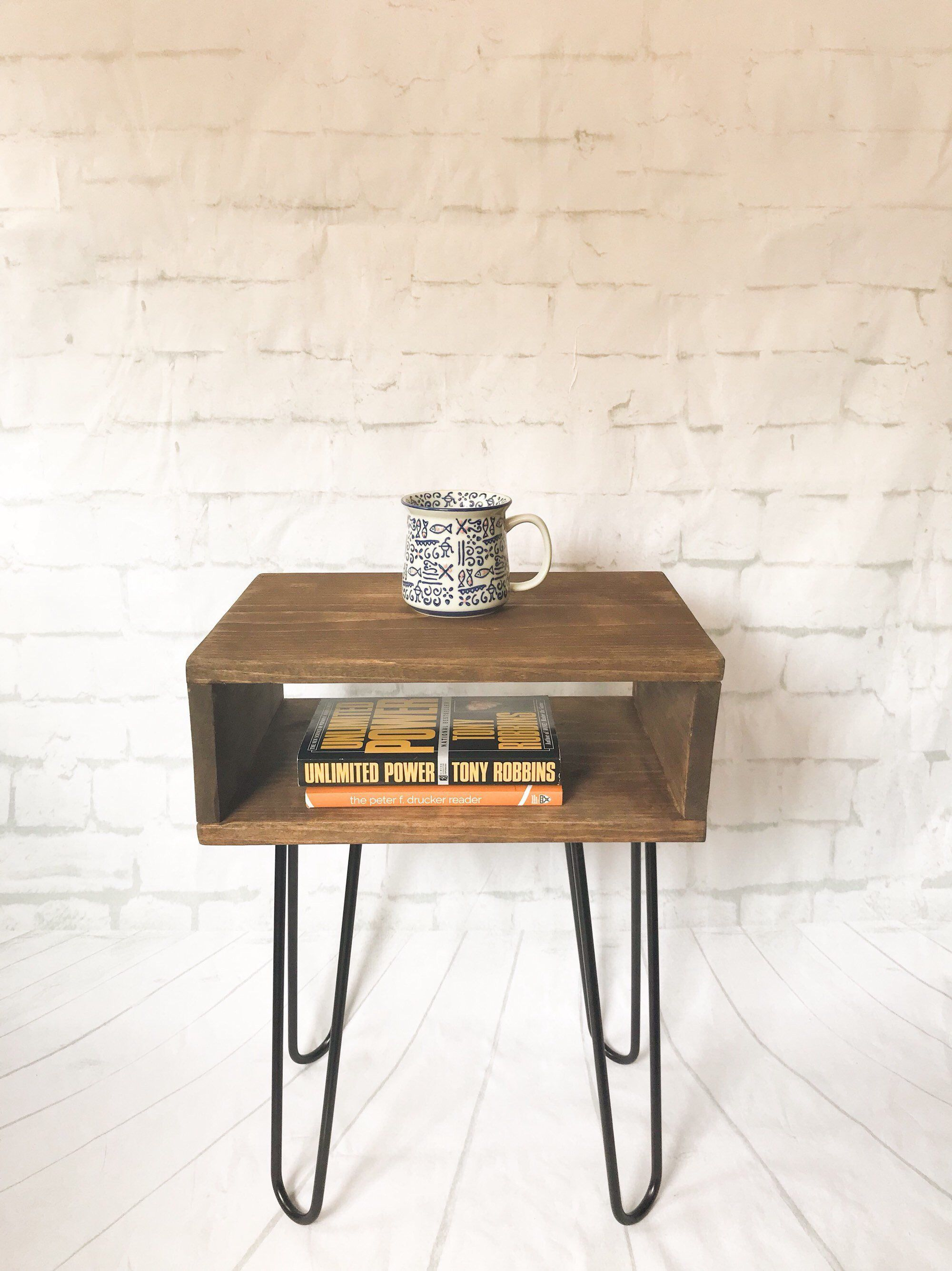 Handmade Real Wood Nightstand Bed Side Table Mid Century Modern Industrial Hairpin Leg End Tables Small Nightstands Record Console Side Table Wood Mid Century Modern Coffee Table Mid Century