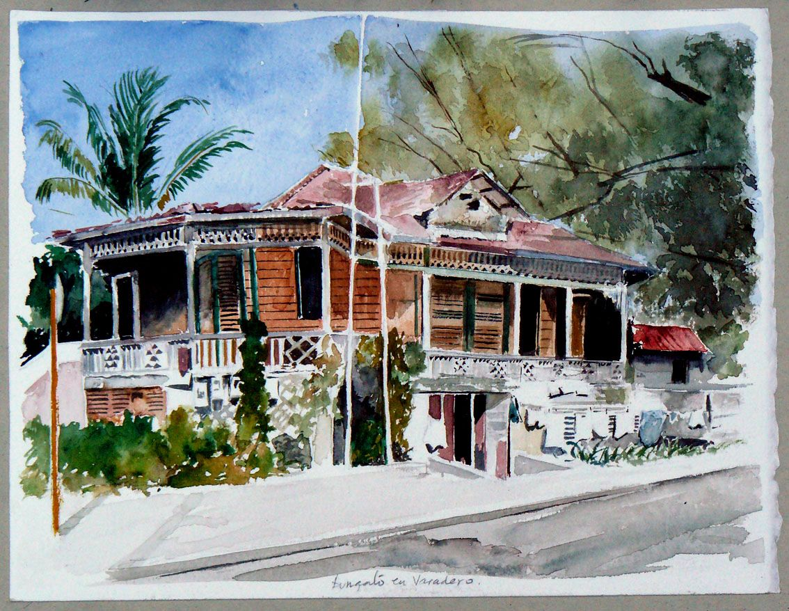 Cuaderno de Cuba. Un bungaló en Varadero Ciudad dibujo