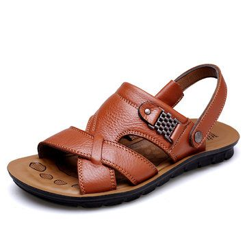 248634ca73d1 High-quality Men Leather Hollow Out Toe Protecting Hook Loop Outdoor Beach  Sandals - NewChic Mobile.