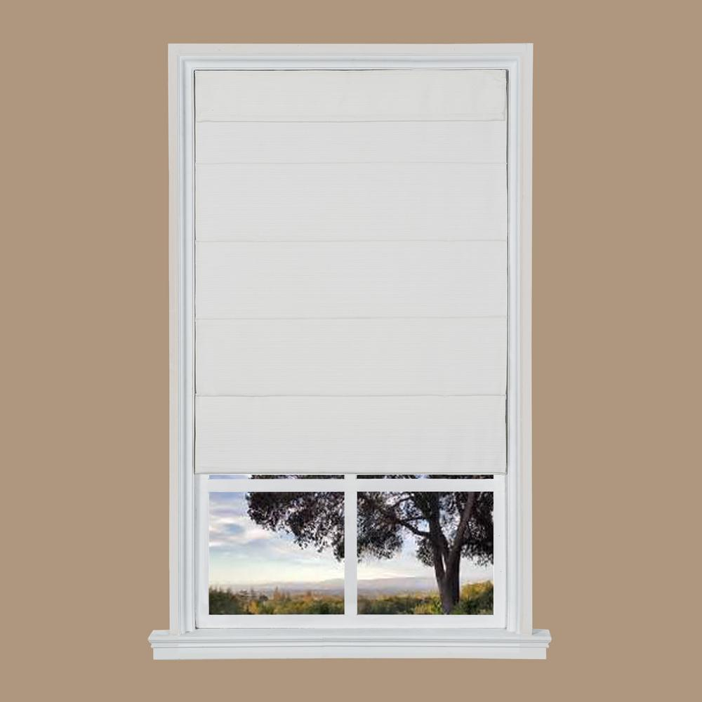 White Cordless Room Darkening Privacy Fabric Roman Shades 35 In W X 64 In L Nlqa3564 The Home Depot Fabric Roman Shades Roman Shades Textured Window Treatments