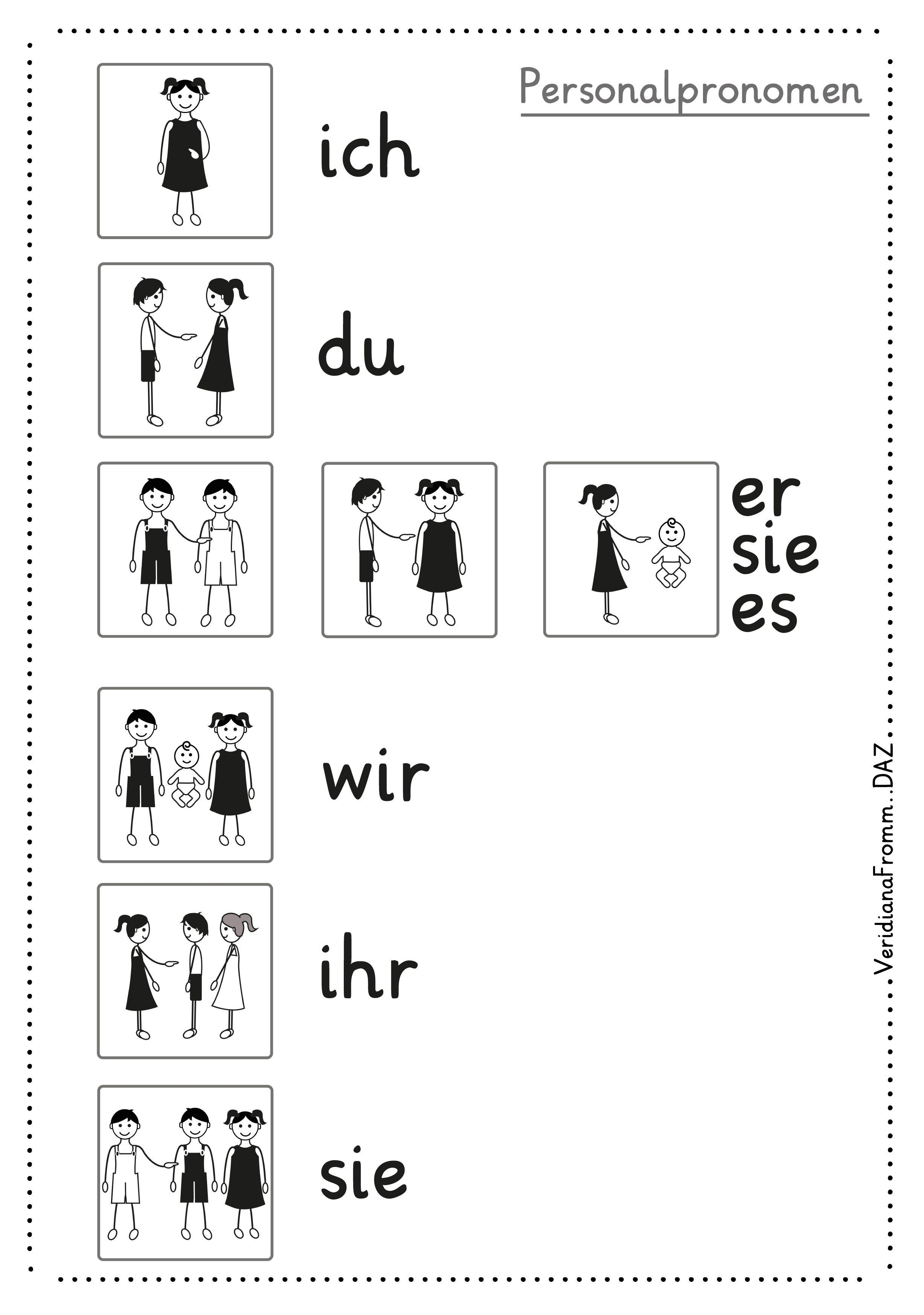 personel pronouns, pronom personnel, Personalpronomen mit Bildern ...