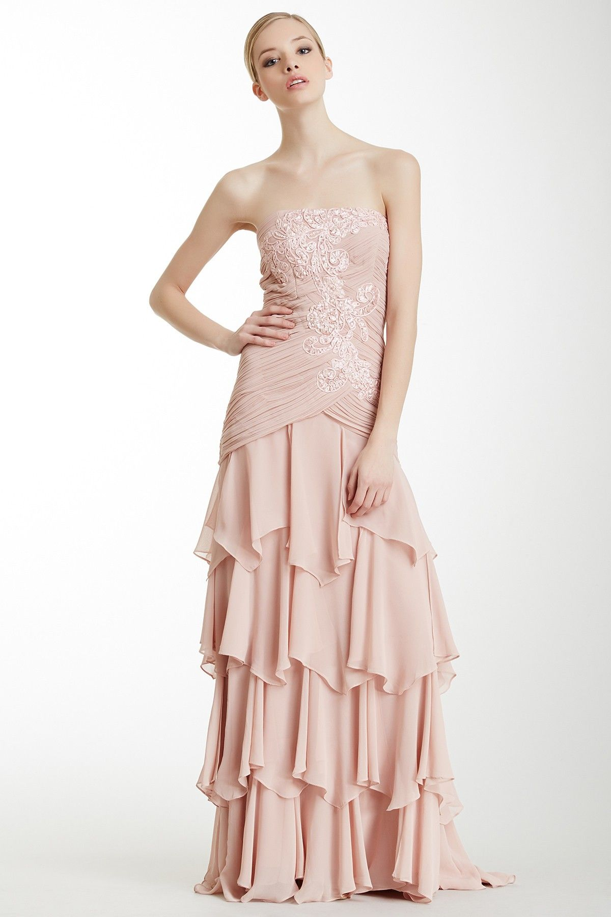 Blush ruched tiered ruffles prom dresses formal dresses