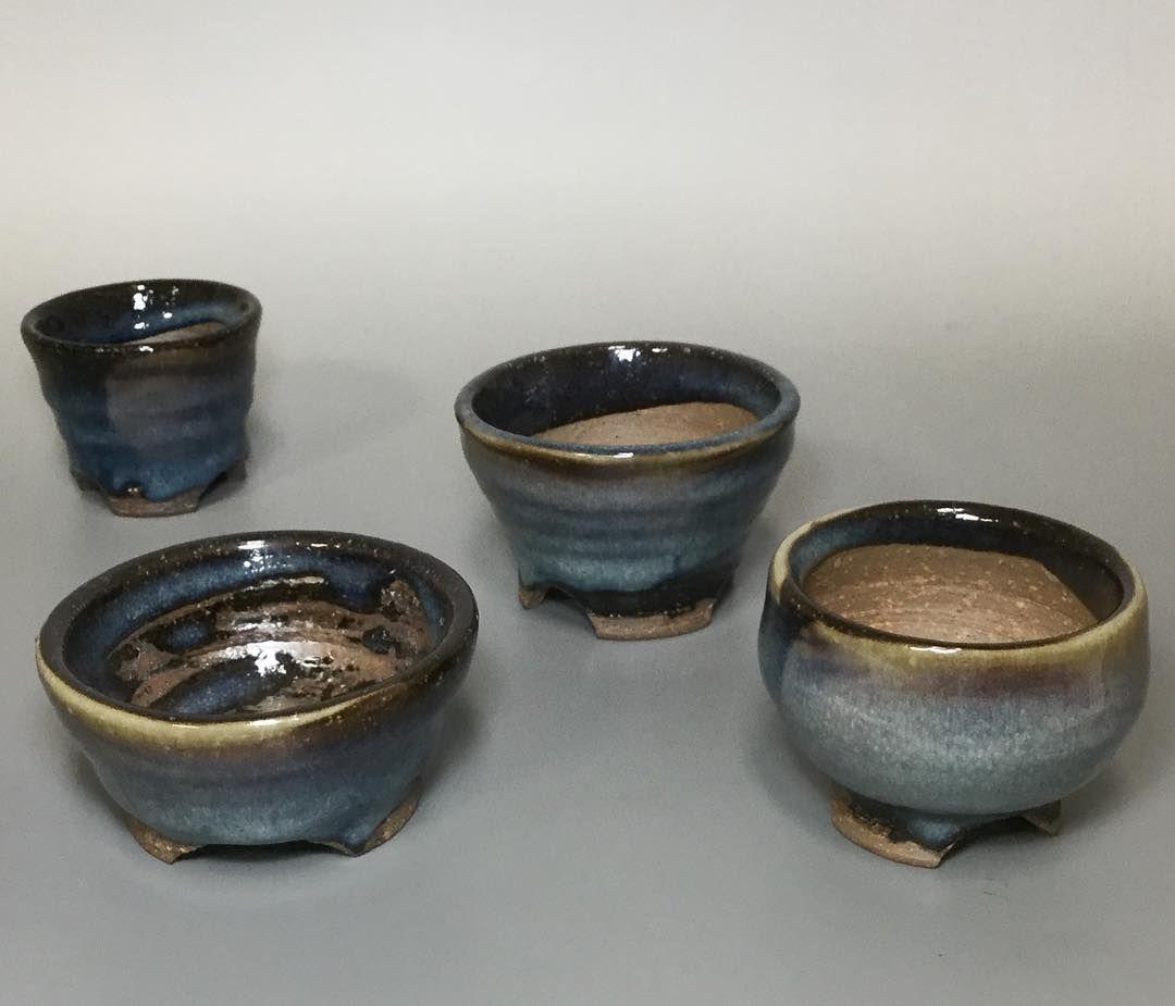 The first Aohagi small bonsai pots by Seigan #bonsaipot #bonsai #bonsaicontainer #japanesepottery #pottery #ceramics #japaneseceramics #greenfingers #greenthumb #plantpot #hagi