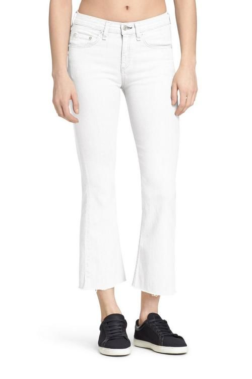 White denim high-rise cropped flare jean with frayed hem 10 oz ...