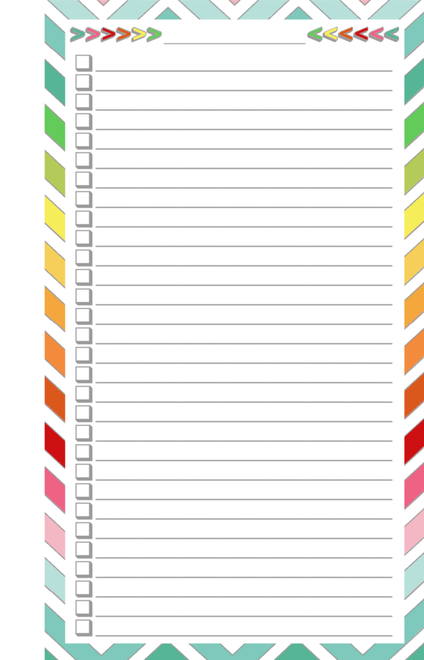 Blank List   Half Page  Free Printable Blank Checklist Template
