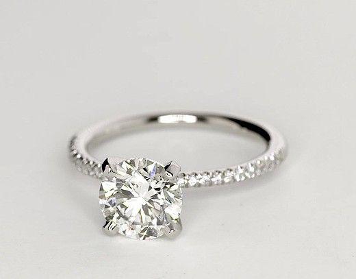 1.52 Carat Diamond Petite Micropavé Diamond Engagement Ring | Recently Purchased…