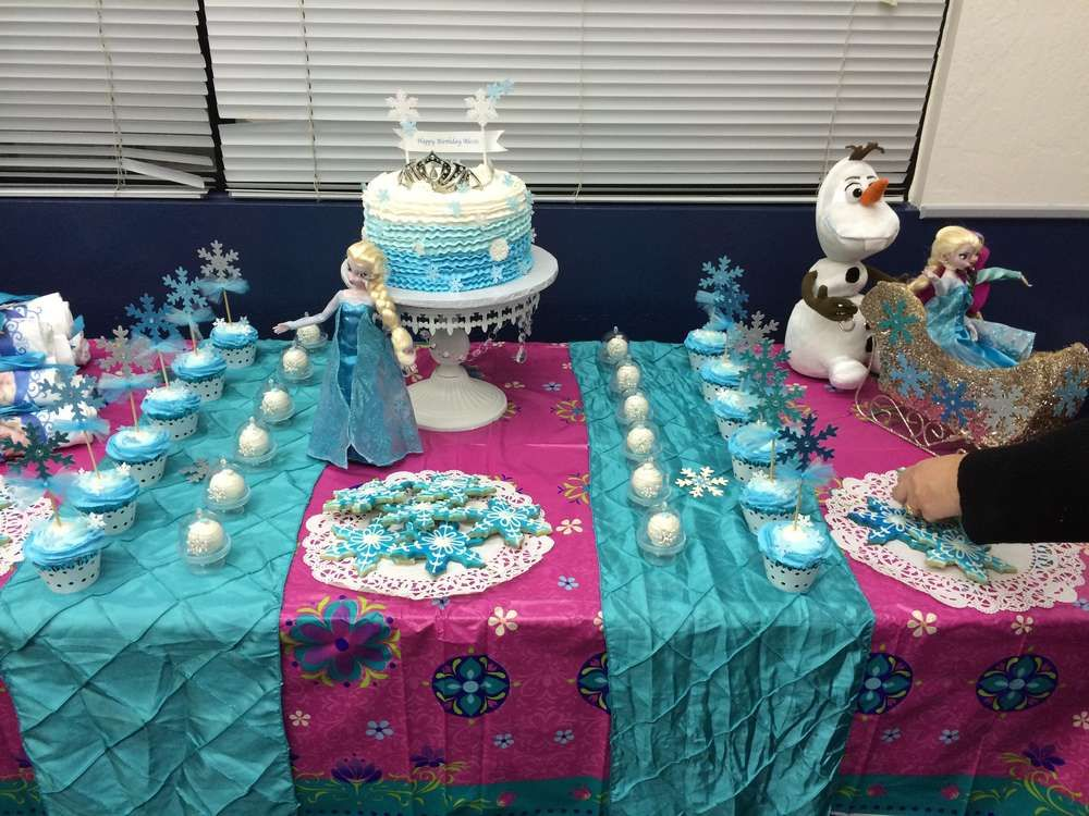Dessert table at a Frozen birthday party! See more party ideas at CatchMyParty.com!