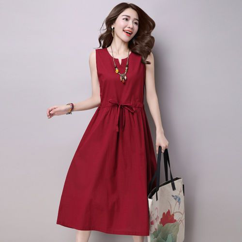 5f46c9e940450 New-Summer-dress-Ethnic-Cotton-Linen-dresses-women-Solid-Casual-Loose- Sleeveless
