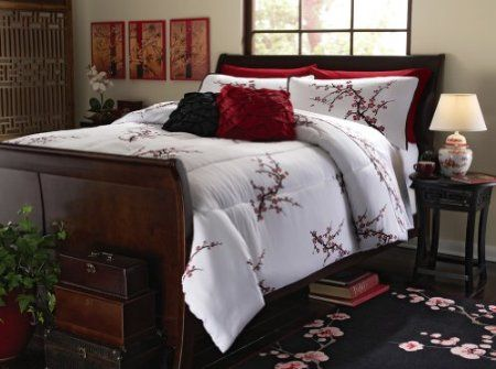 Amazon.com: Asian Cherry Blossom Bedroom Comforter White Full/Queen By  Collections Etc