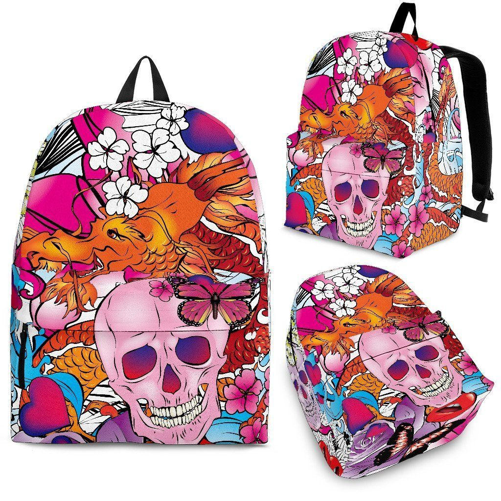 Skulls & Dragon Premium Backpack Skull, Dragon, Punk art
