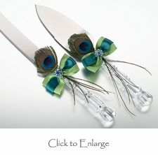 Peacock Wedding Cake Knife & Server Set - Available 2/2013