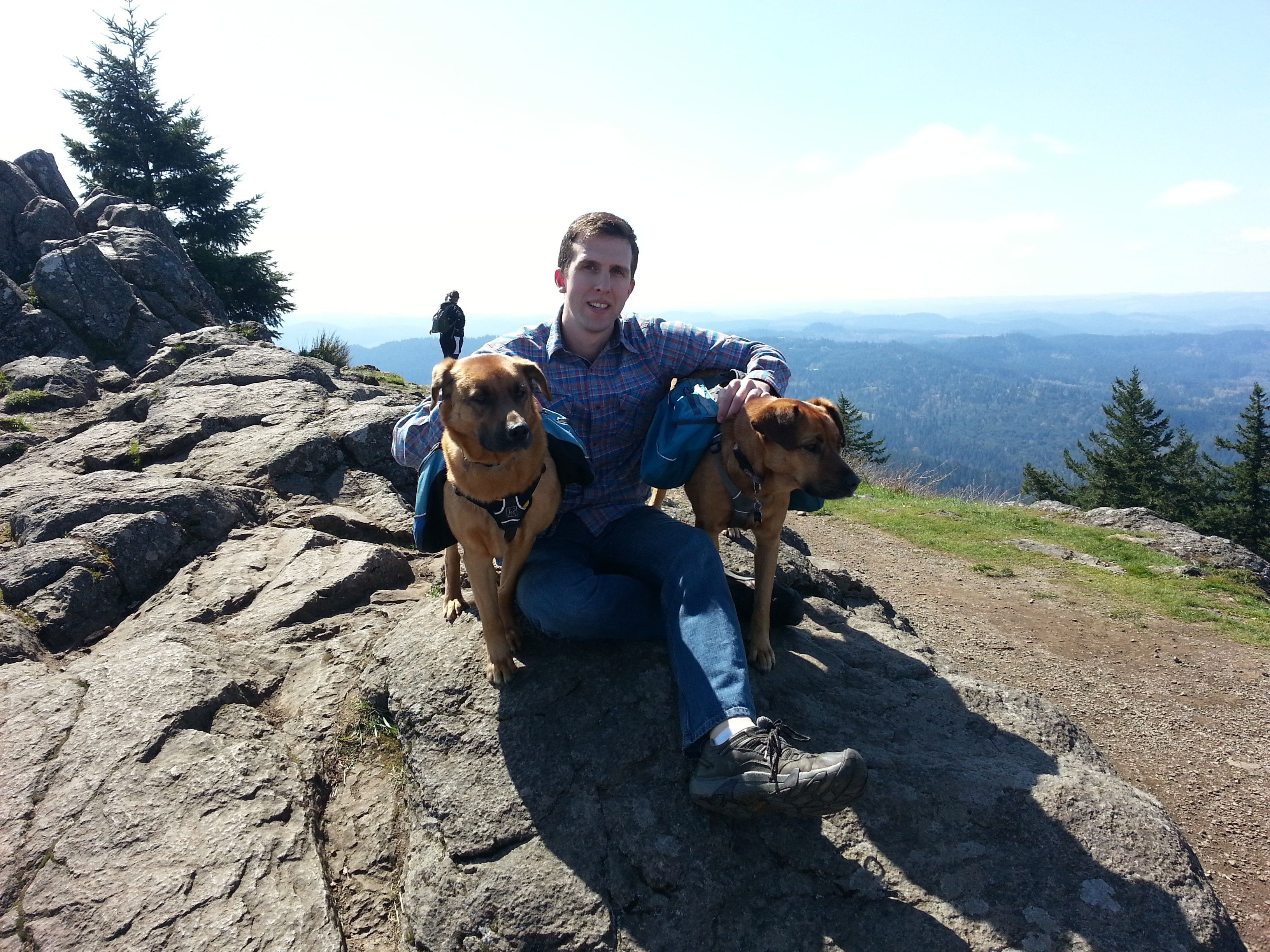 Tim and Grand-dogs atop Spencer Butte, South of Eugene, OR