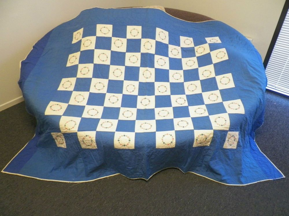 VINTAGE HAND MADE PATCHWORK QUILT BLUE CHECK WITH EMBROIDERED FLOWERS