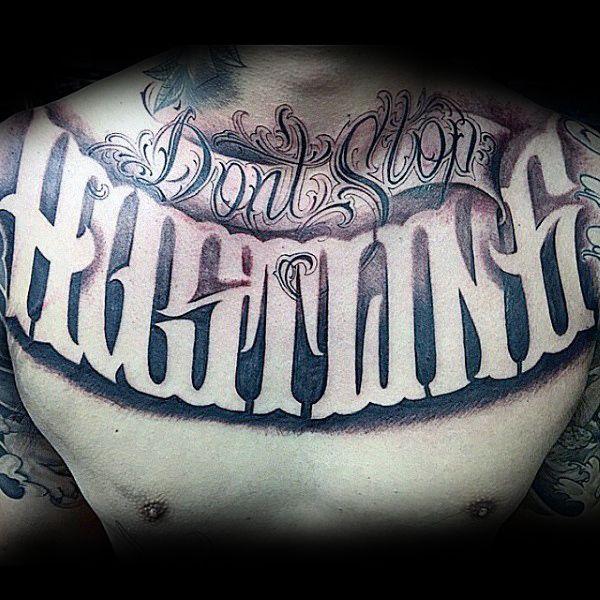 Guys Hustling Script Chest Tattoo Designs | Caligrafia ...