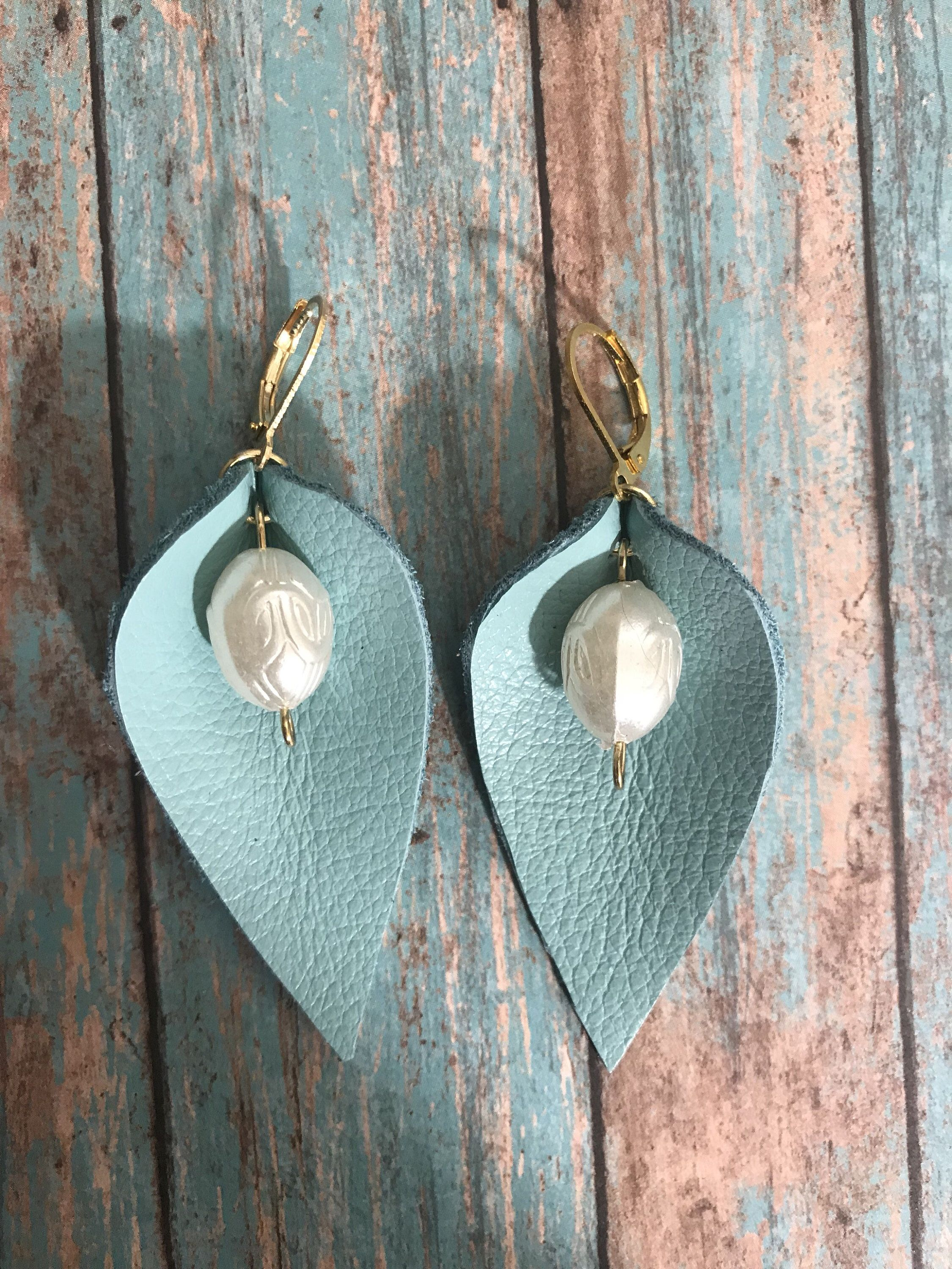 Photo of Leather earrings, real leather, leather with bead earrings, leaf earrings, petal earrings, Joanna Gaines inspired, Boho, by Creative Ahoy