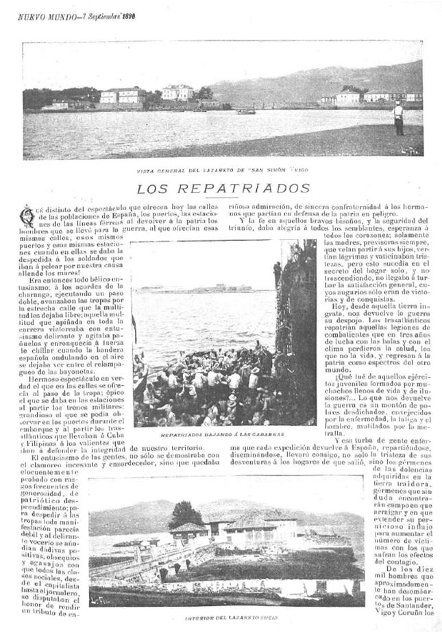 Lazareto de San Simón. Repatriados da Guerra de Cuba. Nuevo Mundo, 7 de Setembro de 1898.
