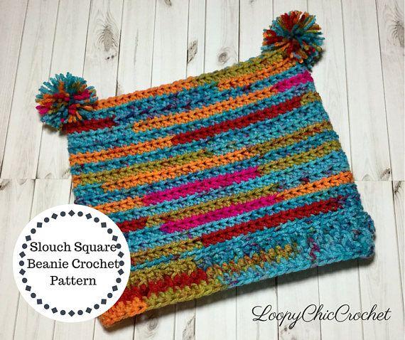 Square Slouchy Beanie Crochet Pattern Rainbow Slouchy Hat Pattern