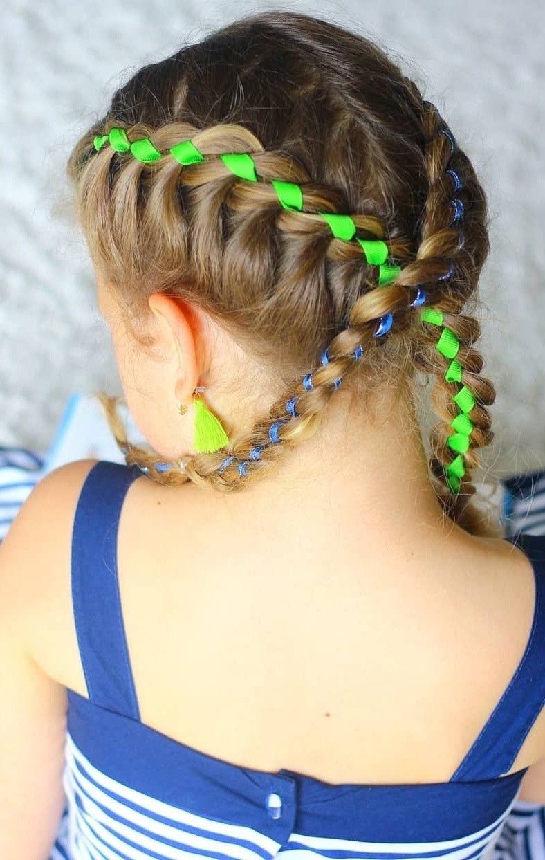Cute girls hairstyle kids hair braids school hair ribbon braids