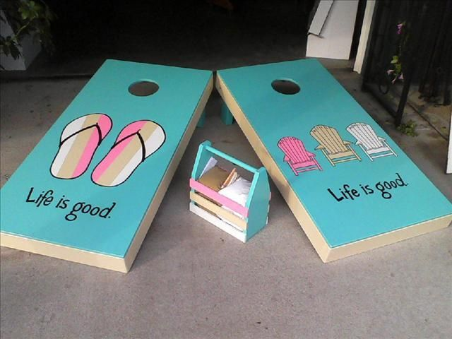 image result for beach painted cornhole boards - Cornhole Design Ideas