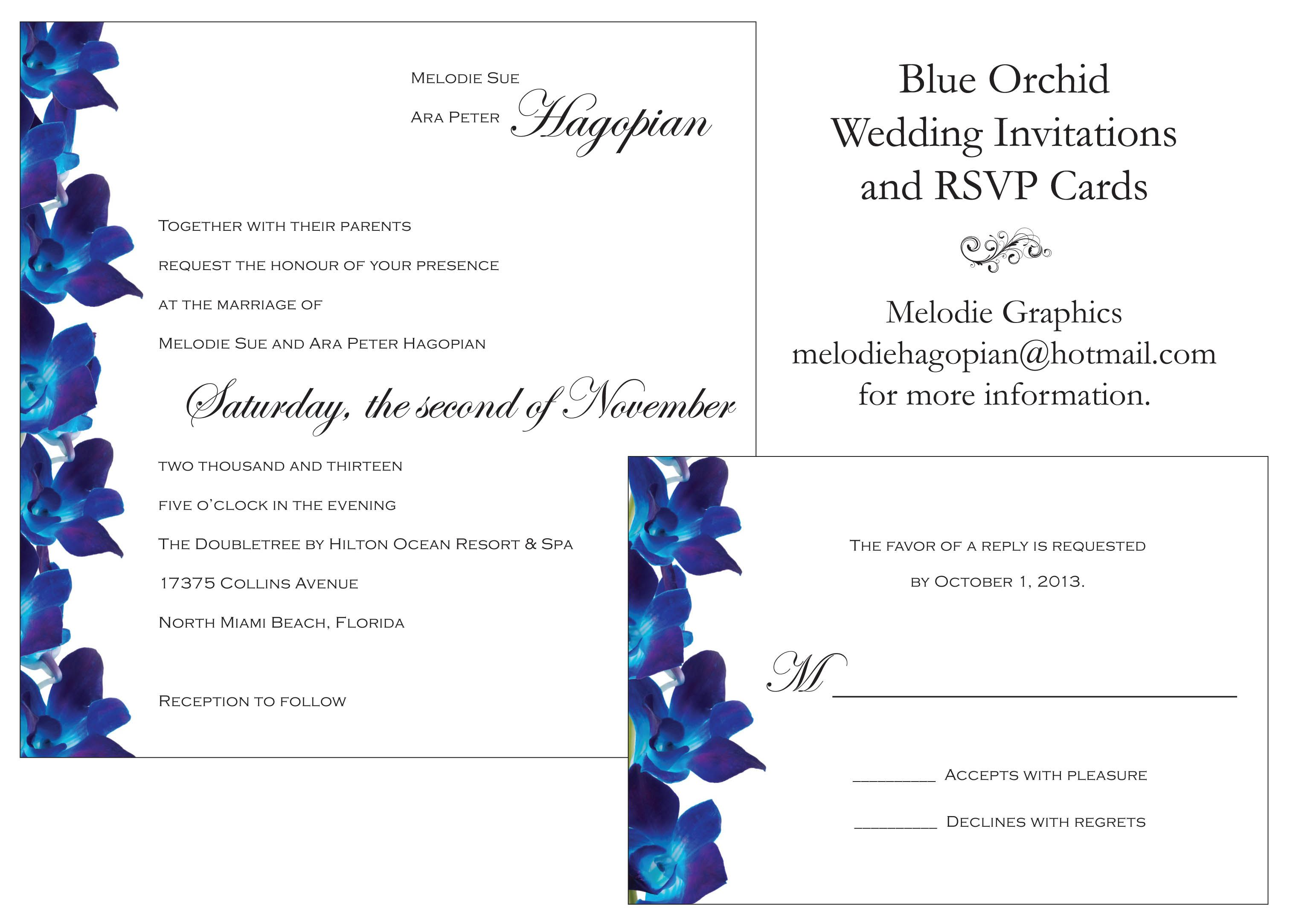 Blue Orchid Wedding Invitations & RSVP cards. Melodie Graphics ...