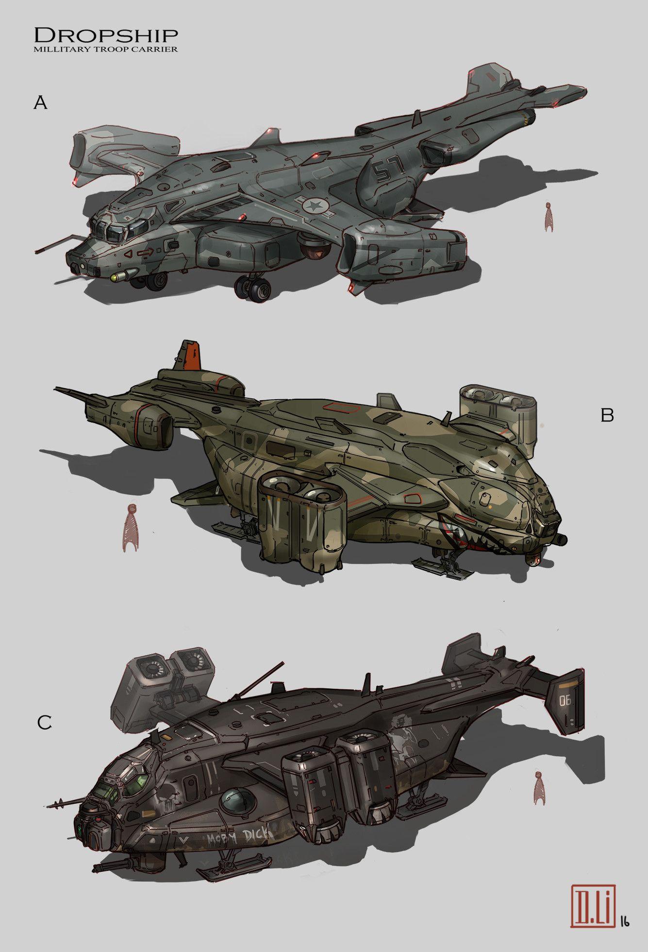 ArtStation - Dropships, Duncan Li | Starship concept, Sci ...