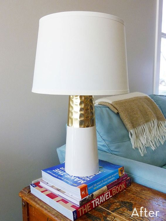 Before After An Inexpensive Vase To Table Lamp Makeover Diy