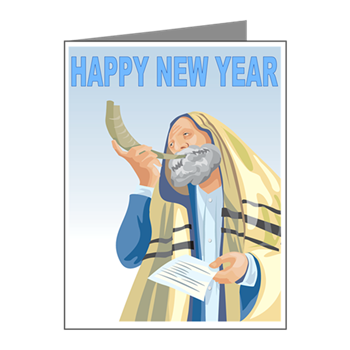 This traditional jewish new year rosh hashanah card shows a man in a this traditional jewish new year rosh hashanah card shows a man in a prayer shawl blowing m4hsunfo