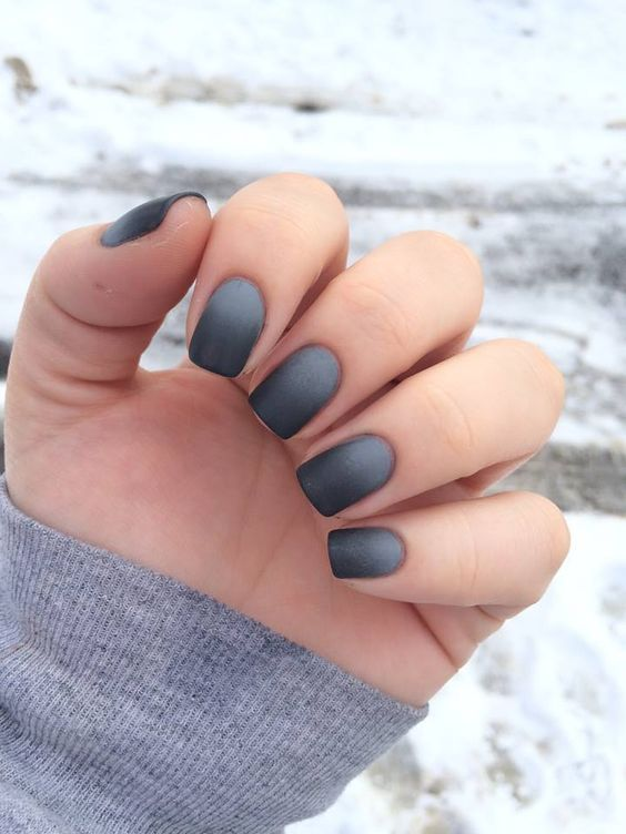 Grey Matte Nails For Fall Winter Ombre Nail Designs Matte Nails