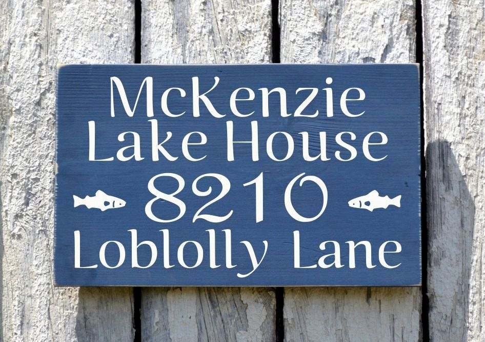 69655fc42d47 Lake House Decor, Personalized Family Name Signs, Outdoor Street Address  Number Plaque Signage Cottage Wood Porch Signs Cabin Decor Art