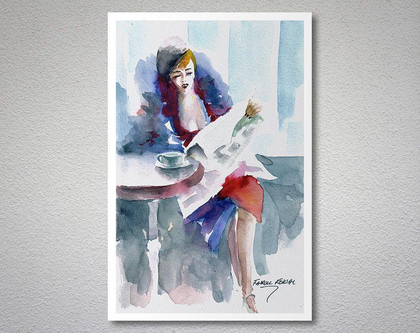 While Waiting Watercolor Aquarell Painting By Faruk Koksal