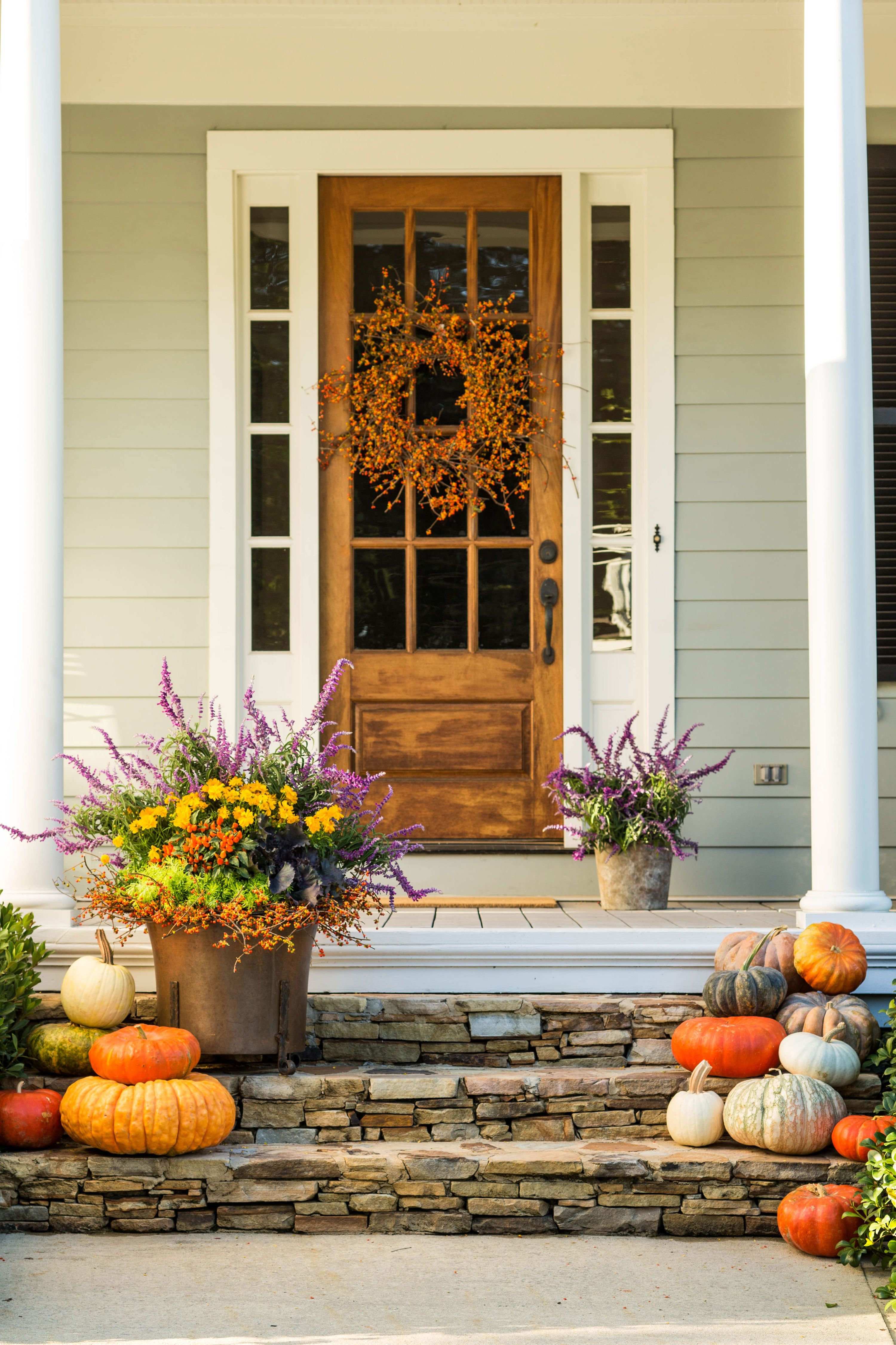 Front Door Container Gardens That Will Impress Guests Fall Decorations Porch Front Porch Decorating Fall Front Porch